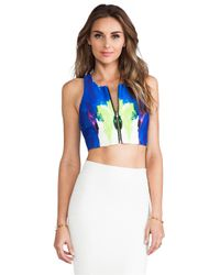 MILLY | Exposed Zipper Crop Top in Blue | Lyst