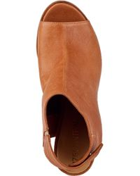 275 Central - Brown Open Toe Wedge Bootie Cuoio Leather - Lyst