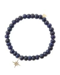 Sydney Evan | Blue Sapphire Rondelle Beaded Bracelet With 14K Gold/Diamond Small Starburst Charm (Made To Order) | Lyst