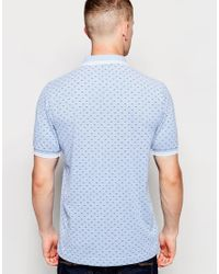 Fred Perry - Blue Polo Shirt With Twin Tip And Polka Dot In Smoke In Slim Fit for Men - Lyst