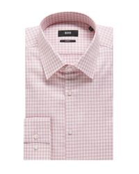 BOSS - Red Slim-fit Shirt In Cotton: 'jacob' for Men - Lyst