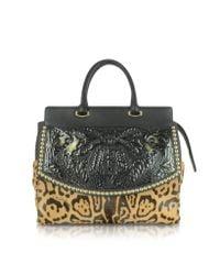 Roberto Cavalli - Aphrodite Jaguar Printed Haircalf And Black Leather Tote - Lyst