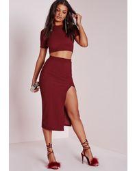Missguided - Purple Textured Longline Split Midi Skirt Burgundy - Lyst
