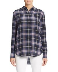 74927500f40669 Lyst - Equipment Reese Plaid Silk Shirt in Black