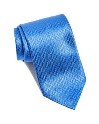 David Donahue - Blue Stripe Silk & Cotton Tie for Men - Lyst