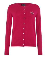 Armani Jeans | Red Long Sleeve Pearl Button Cardigan | Lyst