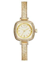 Armani Exchange - Metallic Crystal Encrusted Bangle Watch - Lyst