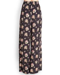 Forever 21 - Black Rose Print Wide-leg Trousers - Lyst