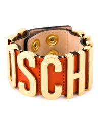 Moschino | Orange Logo Plaque Cuff | Lyst