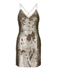 TOPSHOP - Metallic Brushed Bronzed Sequin Dress - Lyst