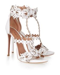 Alaïa - White Laser-Cut Leather Sandals - Lyst