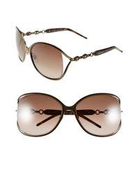 594736853e Lyst - Gucci 60mm Butterfly Sunglasses - Bronze in Metallic