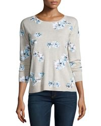 Joie - Gray Eloisa Floral-print Sweater - Lyst