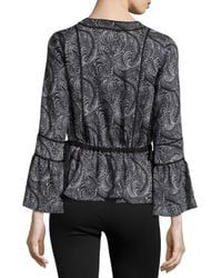 Marchesa Voyage - Multicolor Jersey Ruffled-detail Blouse - Lyst