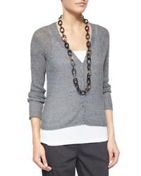 Eileen Fisher - Gray Rustic Speckled Button-front Cardigan - Lyst