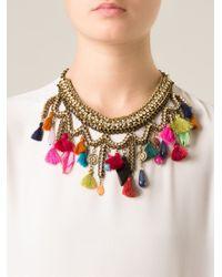 Sveva Collection   Metallic Embellished Chain Tassel Necklace   Lyst