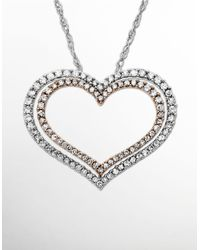 Lord & Taylor | Metallic Diamond Accented Double Heart Pendant | Lyst