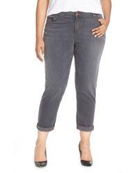 Eileen Fisher | Gray Stretch Denim Boyfriend Jeans | Lyst