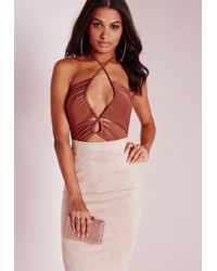 Missguided - Brown Cut Out Gather Slinky Bodysuit Rust - Lyst