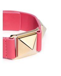 Valentino | Pink 'rockstud' Macro Leather Bracelet | Lyst