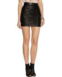 Balmain - Black Ruched Leather Mini Skirt - Lyst