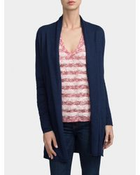 White + Warren | Blue Essential Cotton Open Cardigan | Lyst