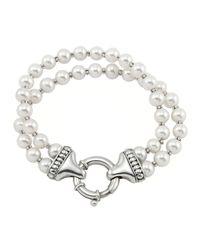 Lagos | White Luna Pearl Double-strand Bracelet | Lyst