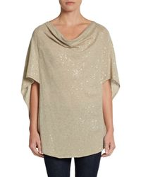 Minnie Rose | Natural Sequined Cowlneck Tunic | Lyst