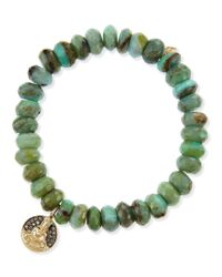 Sydney Evan | Buddha Medallion Green Opal Bead Bracelet with Champagne Diamonds | Lyst