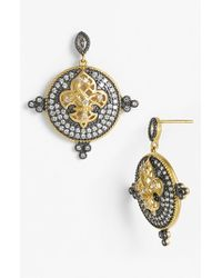 Freida Rothman | Metallic 'metropolitan' Drop Earrings - Gunmetal/ Gold | Lyst