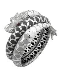 John Hardy | Naga Enamel Ombre Coil Bracelet With Pave White Sapphires | Lyst