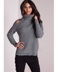 Missguided - Gray Peep Hole Chunky Jumper Grey - Lyst