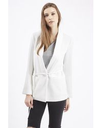 TOPSHOP - White Belted Tuxe Blazer Jacket - Lyst