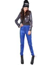 AKIRA - Pleather Jogging Pant in Blue - Lyst