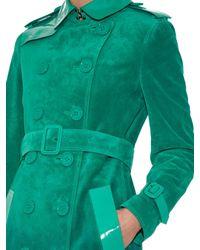 Burberry Prorsum - Green Dégradé Suede Trench Coat - Lyst