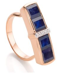 Monica Vinader | Rose Gold Vermeil Blue Sapphire Diamond Baja Precious Ring | Lyst