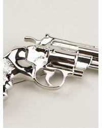 Saint Laurent - Metallic Gun Brooch - Lyst