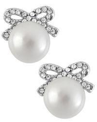 Betsey Johnson | Metallic Silver-tone Crystal Bow Imitation Pearl Stud Earrings | Lyst