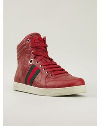 2a162dace Gucci Monogram Hi-Top Sneakers in Red for Men - Lyst