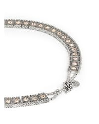 Philippe Audibert | Metallic 'lina' Crystal Milgrain Choker Necklace | Lyst