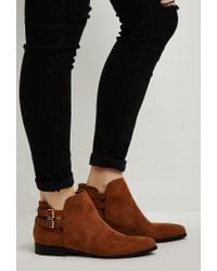 Forever 21 - Red Buckled Faux Suede Ankle Booties - Lyst