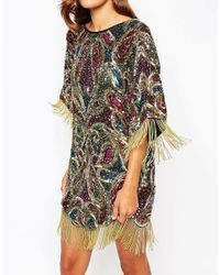 ASOS | Multicolor Red Carpet Paisley Embellished T Shirt Mini Dress With Fringe Sleeves | Lyst