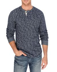 Lucky Brand | Blue Heathered Cotton Henley for Men | Lyst