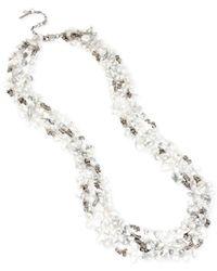 Kenneth Cole - Metallic Silver-tone Semiprecious Chip Bead Multi-row Long Necklace - Lyst