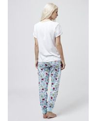 TOPSHOP - Blue Ariel Print Pajama Set - Lyst