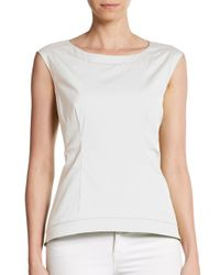 Lafayette 148 New York | White Jayla Stretch Cotton Top | Lyst