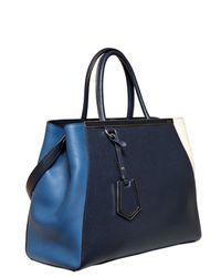 Fendi   Blue Medium 2jours Color Blocked Leather Bag   Lyst