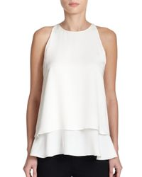 Theory - White Falice Silk Double-Tiered Top - Lyst