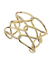 Alexis Bittar - Metallic Yellow Golden & Crystal Crisscross Barbed Cuff - Lyst