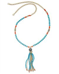 INC International Concepts - Multicolor Gold-tone Turquoise And Coral Bead Tassel Necklace - Lyst